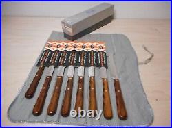 Set of 8 Vintage CASE XX Bull Nose Steak Knives CAP 254 Rosewood Handles Like Ne