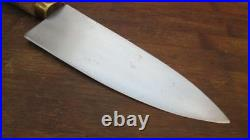Smaller, Wide Vintage PINO Italy Bolstered Carbon Steel Chef Knife RAZOR SHARP