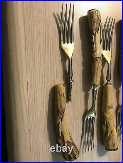 Solingen Antler Horn Flatware Steak Knives And Forks Set With Engravings
