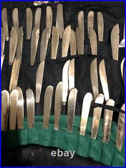 VINTAGE Handmade THAI Nickel Bronze 127 Piece Cutlery Set Bamboo Style