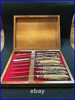 VTG Abercrombie & Fitch Steak Knife Set 8 Faux Deer Antler Handles Wooden Chest