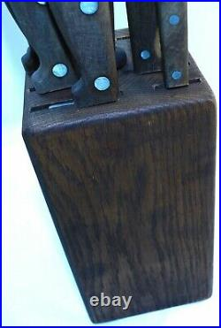 VTG Case Early American Knife 7 Set with Wood Block Nice Shape Kitchen Knives