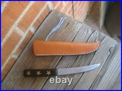 Vintage 5 3/4 Blade GOLD STAR FOSTER Carbon Hunting Skinning Knife & Sheath USA