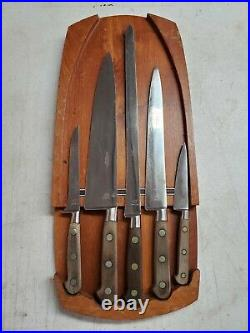 Vintage Abercrombie & Fitch Sabatier France 5 Knives & Original A&F Holder