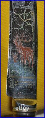 Vintage Anton Wingen Jr Carving Knife Set Stag Horn Solingen Germany antlers
