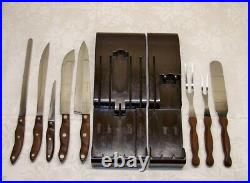 Vintage CUTCO Contoured Wood Handled Knives & Forks Cutlery Set withWall Racks USA