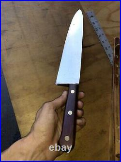 Vintage Chef Butcher KNIFE RUSSELL GREEN RIVER WORKS 12 Carbon Steel, Wooden