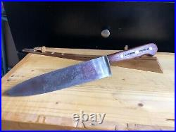 Vintage Chef Butcher Knife LL BEAN INC CARBON STEEL 8.75blade NICE WOOD HANDLE