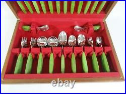 Vintage Danish Scandi Style Mid Century Rosebury Cutlery Butlers Set Jade Green
