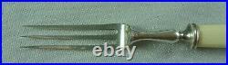 Vintage Estate Boxed Set Of 6 Bone Xylonite Handled Fruit Knives & Forks #17563
