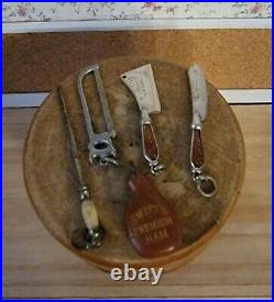 Vintage F Dick Miniature Sharpening Steel, Knife, Cleaver Watch Fobs 6 Pieces