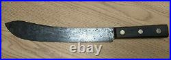 Vintage FOSTER BROS. Carbon Steel Chef's Butcher Knife Bull Nose Blade Machete