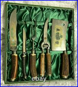 Vintage JACOBS & CO SOLINGENROSTFREIGERMAN CUTLERY SET knife ANTLER BONE STAG