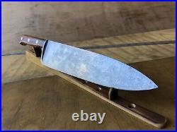 Vintage KNIFE Chef Butcher DEXTER 48910 Carbon Steel 10Blade, Sharp By Hand, wood