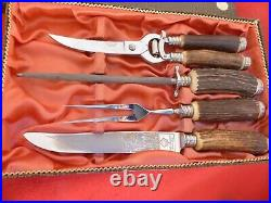 Vintage Puma Germany set Four STAG mint/box stainless carving set shears knives