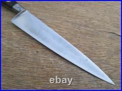 Vintage Unmarked Sabatier Sm. Carbon Steel Chef Knife withLignum Vitae, RAZOR KEEN