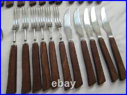 Vintage retro Butler Ryals rosewood cutlery with wooden handles 40 pieces