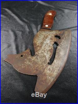Vtg Antique Folk Art Zoomorphic Figural Fox Shaped Meat Cleaver Heavy