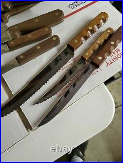 Vtg Rare Case XX Cutlery The Early Americans Kitchen Knife Set & Block Nice (jl)